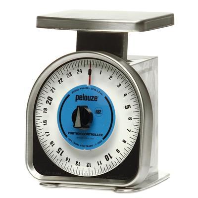 Rubbermaid FGYG425R Pelouze Portion Scale - Dial Type, Blue Lens, 25 lb x 2 oz, Aluminum/Stainless