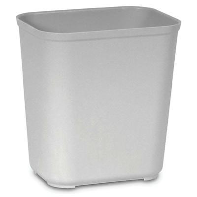 Rubbermaid FG254300GRAY 28-qt Rectangle Waste Basket - Plastic, Gray