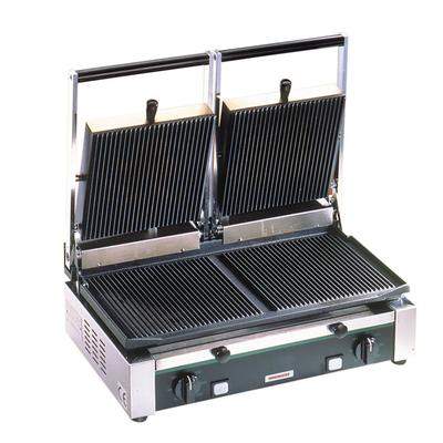 Cecilware Pro TSG2G Double Commercial Panini Press w/ Cast Iron Grooved Plates, 240v/1ph