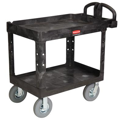 Rubbermaid FG452010 BLA 2 Level Polymer Utility Cart w/ 500 lb Capacity, Raised Ledges