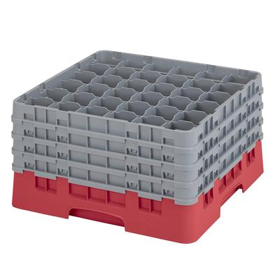 Cambro 36S900163 Camrack? Glass Rack w/ (36) Compartments - (4) Gray Extenders, Red