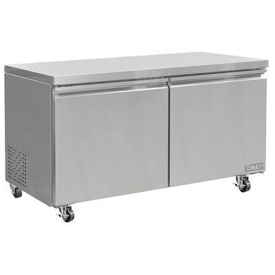 "MoTak MUF-60 60 1/5"" W Undercounter Freezer w/ (2) Sections & (2) Doors, 115v"