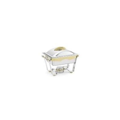 Vollrath 48329 Panacea Half Size Chafer, 4.1 qt, Stainless, 24 kt Gold Accents, Dome Cover