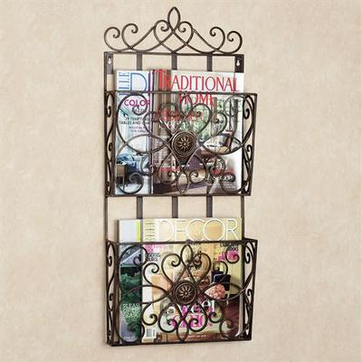 Arezzio Wall Magazine Rack Antique Bronze, Single, Antique Bronze