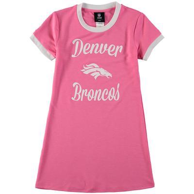 Infant Pink Denver Broncos Yardline Ringer Tee Dress