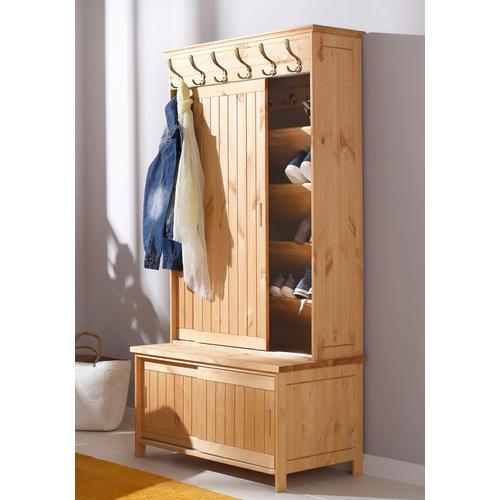 Home affaire Kompaktgarderobe Mia, aus massiver Kiefer beige Kompaktgarderoben Garderoben