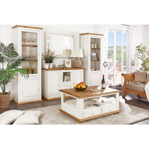Couchtisch Wohnzimmertisch MEXICO, Pinie weiß / honig, Landhausstil Möbel, shabby