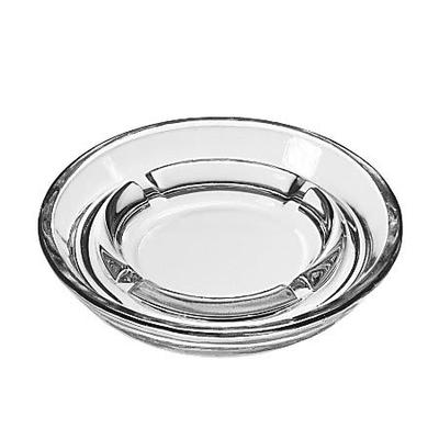 """Libbey 5164 5"""" Round Clear Glass Safety Ashtray"""