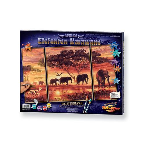 Schipper Malen nach Zahlen Meisterklasse Triptychon - Elefanten Karawane, Made in Germany bunt Kinder Ab 12-15 Jahren Altersempfehlung