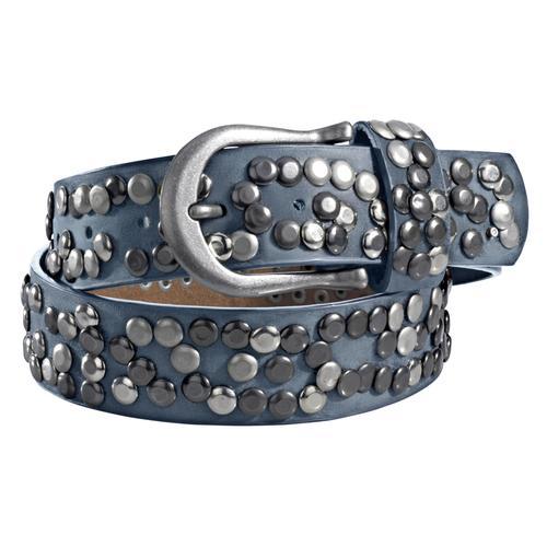 heine Nietengürtel, Mit Metallnieten blau Damen Ledergürtel Gürtel Accessoires Nietengürtel