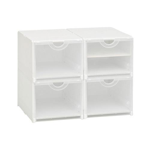 Schuhboxen, 4er- oder 6er Set weiß Aufbewahrungssysteme Körbe Boxen Regal- Ordnungssysteme Küche Ordnung