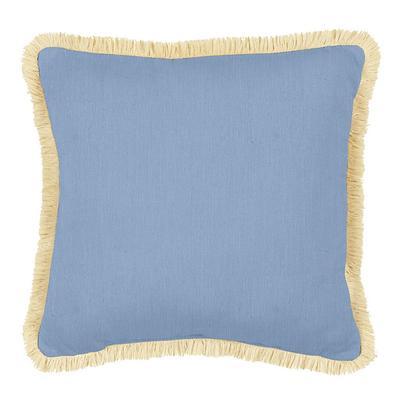 Fringed Pillow 12 inch x 20 inch Canvas White Sunbrella - Ballard Designs