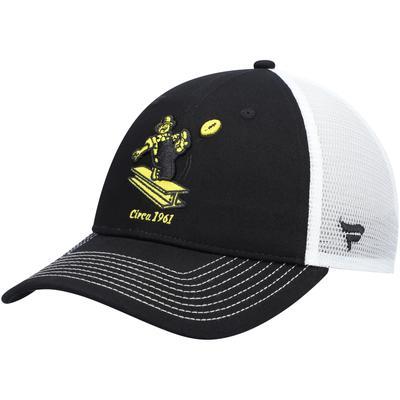 Men's Pittsburgh Steelers NFL Pro Line by Fanatics Branded Black/White Vintage Core Trucker II Adjustable Snapback Hat