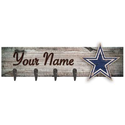 """Dallas Cowboys 24"""" x 6"""" Personalized Mounted Coat Hanger"""