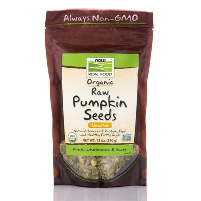 NOW Snacks - NOW Real Food - Organic Pumpkin Seeds, Raw, Unsalted -