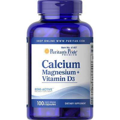 Puritan's Pride 2 Pack of Calcium Magnesium Citrate plus Vitamin D-100-Capsules