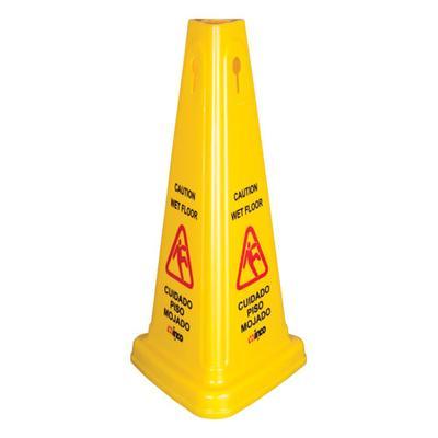 "Winco WCS-27T 27"" Tri-Cone Wet Floor Caution Sign"
