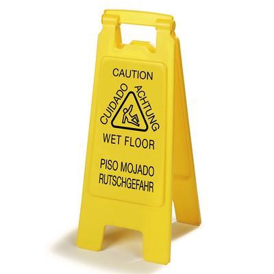 "Carlisle 3690904 Wet Floor Safety Sign - 11x25"" 2 Sided, Multi-Lingual, Polypropylene, Yellow"