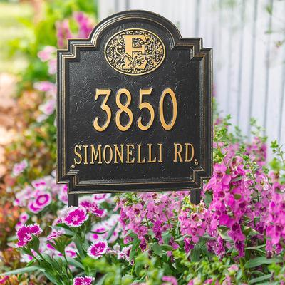 Designer Square Lawn Address Plaque - 1 Line, Standard, Bronze/Gold Plaque with Fleur-de-Lis - Frontgate