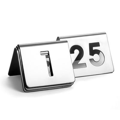 """Tablecraft TC125 Tabletop Number Cards - #1 25, 2 1/2"""" x 2 1/2"""", Stainless"""