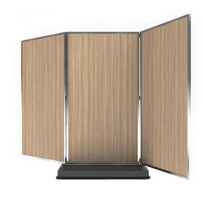Forbes Industries 7883 3 Panel Mobile Room Divider w/ Laminate Panels & Brushed Steel Frame
