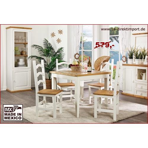 MEXICO Esstisch Tisch, Holz: Pinie, Marmor Mosaik, weiß + honig, Landhausstil