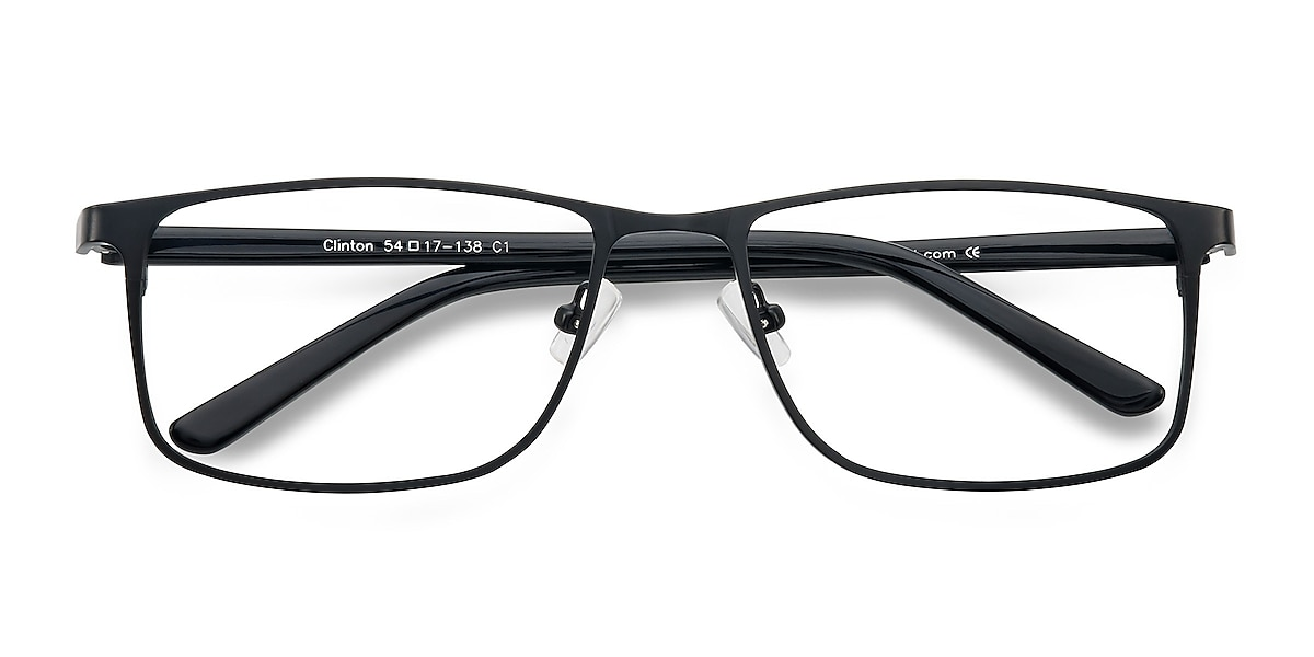 Unisex Rectangle Black Metal Prescription eyeglasses - EyeBuydirect's Clinton