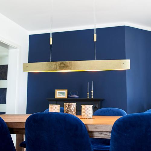 Goldfarbene LED-Hängeleuchte Malu, 100 cm