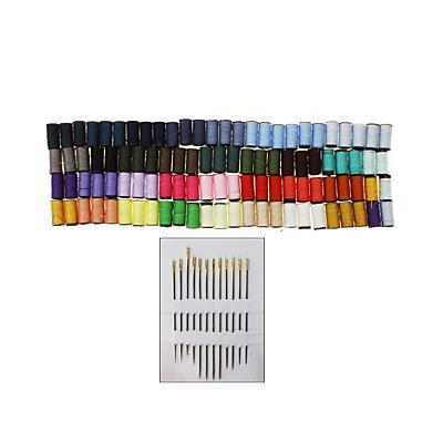 100 bobines de fil + 12 aiguilles