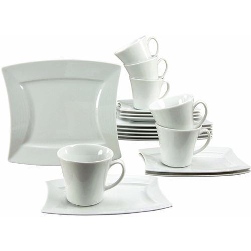 CreaTable Kaffeeservice SAILING, (Set, 18 tlg.), Mikrowellengeeignet weiß Geschirr-Sets Geschirr, Porzellan Tischaccessoires Haushaltswaren