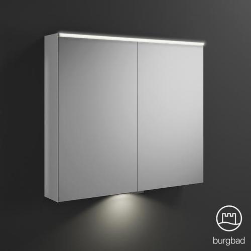 Burgbad Eqio Spiegelschrank mit LED-Beleuchtung B: 90 H: 80 T: 17 cm, 2 Türen weiß glanz, mit Waschtischbeleuchtung SPGT090F2009, EEK: A+
