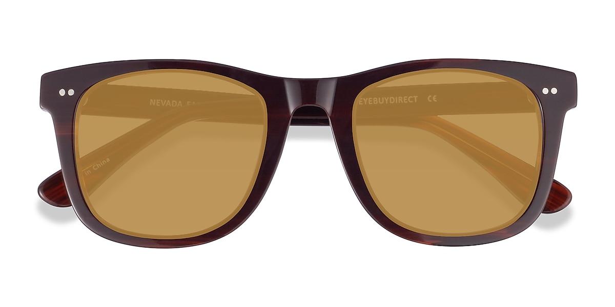 Unisex Square Brown Striped Acetate Prescription sunglasses - EyeBuydirect's Nevada