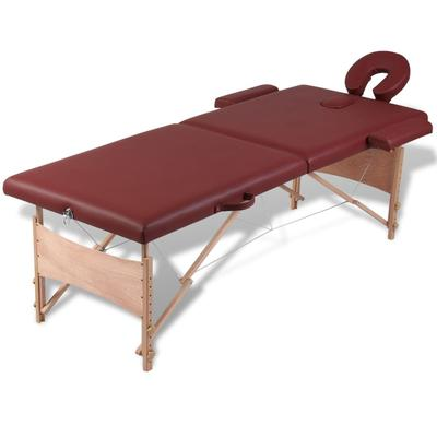 vidaXL Table pliable de massage Rouge 2 zones avec cadre en bois