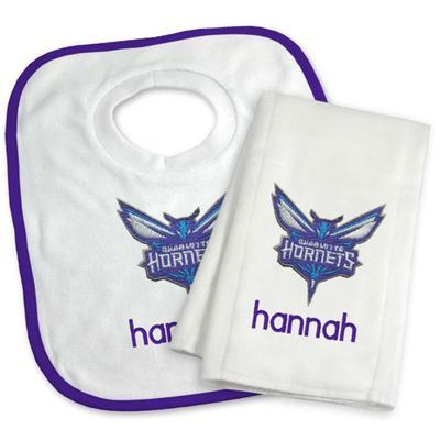 """Newborn & Infant White Charlotte Hornets Personalized Bib Burp Cloth Set"""