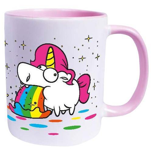 Einhorn Kotzendes Einhorn - Regenbogen Tasse - weiß rosa