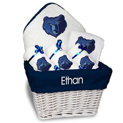 """Newborn & Infant White Memphis Grizzlies Personalized Medium Gift Basket"""