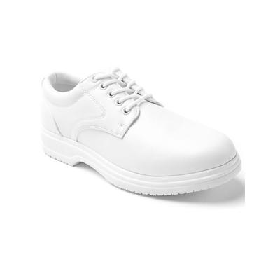 Haband Men's Deer Stags Service Oxford, White, Size 10.5 Medium, M