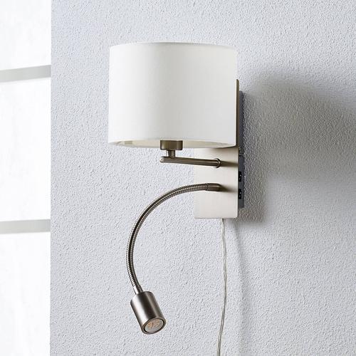 Florens - Textilwandlampe mit LED-Leselampe