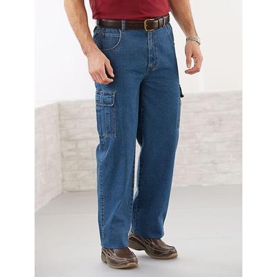 Haband Big & Tall Mens Duke Side-Elastic 5 Pocket Jeans, Medium Blue Cargo, Size 44 S (27-28)