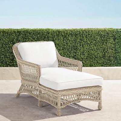 Hampton Chaise Lounge with Cushions in Ivory Finish - Rain Cobalt , Custom Sunbrella Rain, Special Order - Frontgate