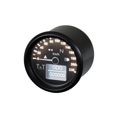 T&T elektronischer Tachometer 48mm, - 220 km/h