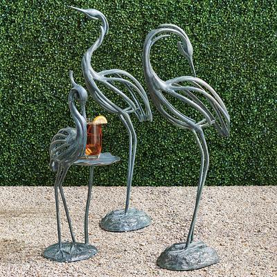 Stylized Heron Sculptures - 40H Zinc Head Up - Frontgate