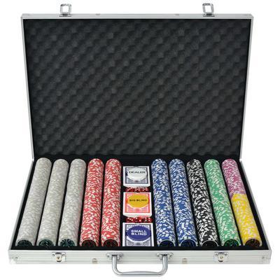 vidaXL Jeu de poker avec 1000 jetons Laser Aluminium