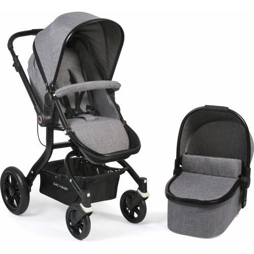 CHIC4BABY Kombi-Kinderwagen Tano, grau, 15 kg, ; Kinderwagen grau Kinder Kombikinderwagen Buggies