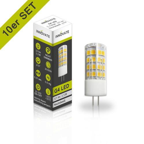 INNOVATE LED-Leuchtmittel G4 im 10er-Set A+ weiß LED Leuchtmittel Lampen Leuchten EEK