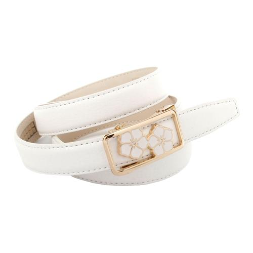 Anthoni Crown Ledergürtel, mit emaillierter Koppelschließe weiß Damen Ledergürtel Gürtel Accessoires