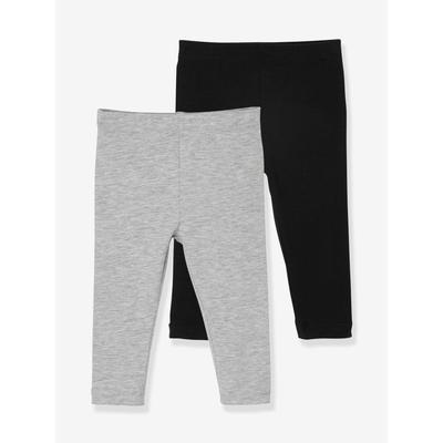 2er-Pack Mädchen Baby Leggings Oeko Tex® schwarz/grau Gr. 86 von vertbaudet