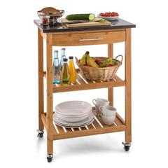 Tennessee Kitchen Trolley Serving Wagon 3 Floors Bamboo Granite