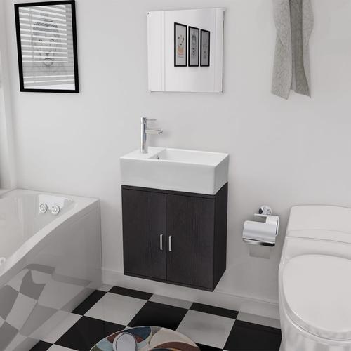 vidaXL Dreiteiliges Badmöbel-Set mit Waschbecken Schwarz