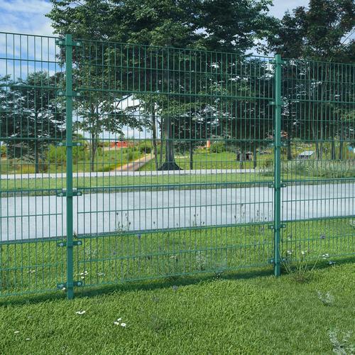 vidaXL Zaunfeld mit Pfosten Grün Eisen 6 x 2 m